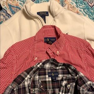 2 Kids Polo LS button ups and 1 Pull over
